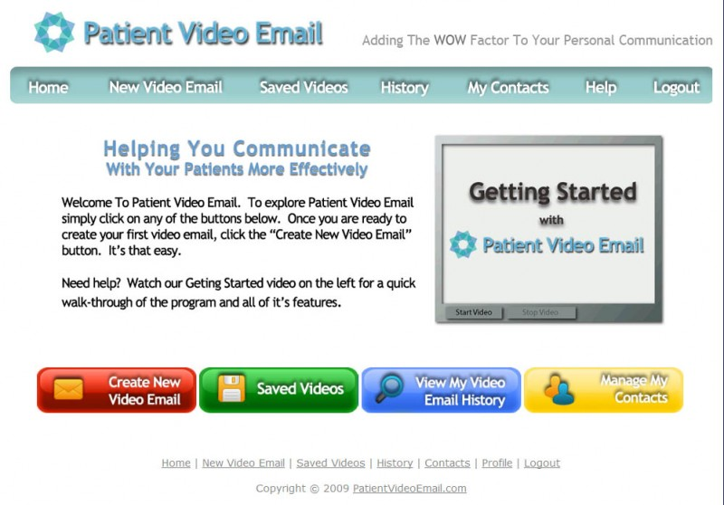 Patient Video Email Home Page