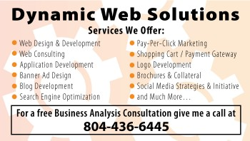 Dynamic Web Solutions business card back