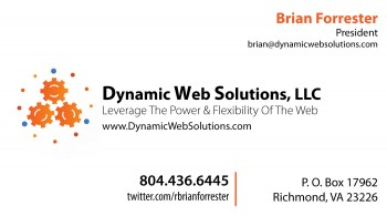Dynamic Web Solutions business card front